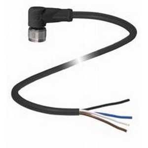 Pepperl & Fuchs V1-W-BK5M-PVC-U 4-Pin Right Angle Female Cordset; 5 m Cable, PVC Cable, Black