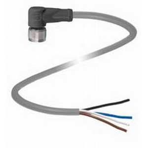 Pepperl & Fuchs V1-W-5M-PVC 4-Pin Right Angle Female Cordset; 5 m Cable, PVC Cable, Gray