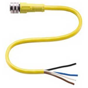 Pepperl & Fuchs V1-G-YE2M-PVC 4-Pin Straight Cable Connector; PVC, Yellow