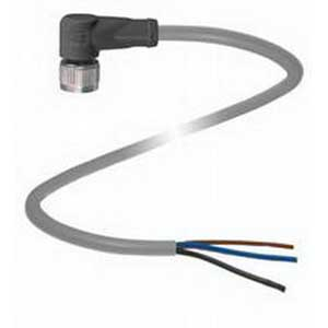 Pepperl & Fuchs V11-W-5M-PVC 3-Pin Right Angle Female Cordset; 5 m Cable, PVC Cable, Gray