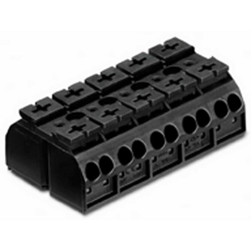 Wago 862-505 4-Conductor Terminal Strip; Black, Chassis Mount