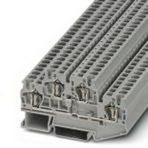 Phoenix 3031429 Double-Level Spring-Cage Terminal Block; 30 Amp, 500 Volt, Spring-Cage Connection, NS 35/7.5, NS 35/15 DIN Rail Mount, Polyamide, Gray