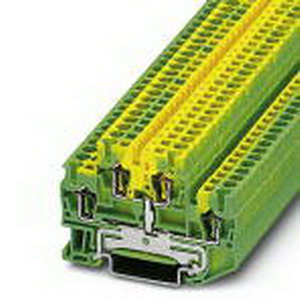Phoenix 3036026 Protective Conductor Double-Level Terminal Block; Spring-Cage Connection, NS 35/7.5, NS 35/15 DIN Rail Mount, Polyamide, Green/Yellow