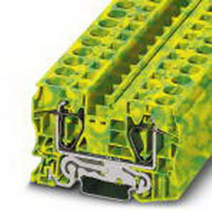 Phoenix 3036165 Ground Terminal Block; 76 Amp, Spring-Cage Connection, NS 35/7.5, NS 35/15 DIN Rail Mount, Polyamide, Green/Yellow