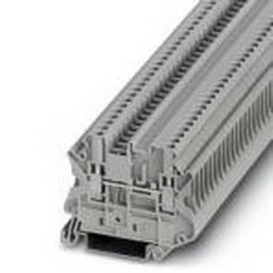 Phoenix 3064098 Feed-Thru Terminal Block; 24 Amp, 630 Volt, M3 Screw Connection, NS 35/7.5, NS 35/15 DIN Rail Mount, Polyamide, Gray