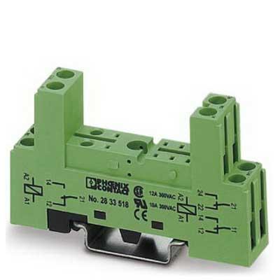 Phoenix 2833518 PR1-BSC2/2X21 Relay Socket; 12 Amp, 300 Volt AC/DC Input, NS 35/7.5 Din Rail Mount