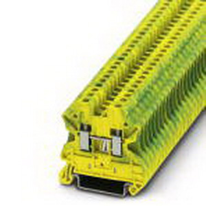 Phoenix Contact Phoenix 3044092 Feed-Thru Ground Modular Terminal Block; 24 Amp, 800 Volt, M3 Screw Connection, NS 35/7.5, NS 35/15 DIN Rail Mount, Polyamide, Green/Yellow