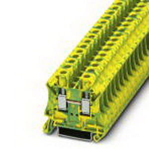 Phoenix Contact Phoenix 3044157 Ground Modular Terminal Block; M4 Screw Connection, NS 35/7.5, NS 35/15 DIN Rail Mount, Polyamide, Green/Yellow