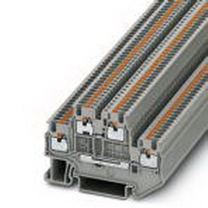 Phoenix Contact Phoenix 3208511 Double-Level Terminal Block; 16 Amp, 500 Volt, Push-in Connection, Polyamide, Gray