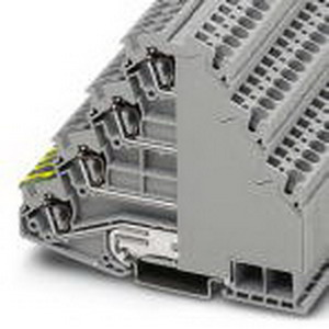 Phoenix Contact Phoenix 3038338 Ground Terminal Block; 28 Amp, 800 Volt, Spring-Cage Connection, NS 35/7.5, NS 35/15 DIN Rail Mount, Polyamide, Gray