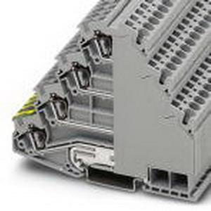 Phoenix 3038338 Ground Terminal Block; 28 Amp, 800 Volt, Spring-Cage Connection, NS 35/7.5, NS 35/15 DIN Rail Mount, Polyamide, Gray