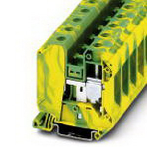 Phoenix Contact Phoenix 3044241 Ground Modular Terminal Block; 125 Amp, M6 Screw Connection, NS 35/7.5, NS 35/15 DIN Rail Mount, Polyamide, Green/Yellow