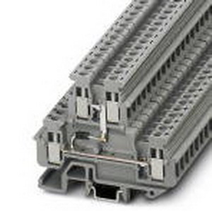 Phoenix Contact Phoenix 2800570 Mini Feed-Thru Terminal Block; 24 Amp, 500 Volt, M3 Screw Connection, NS 15, NS 35/7.5, NS 35/15 DIN Rail Mount, Polyamide, Gray