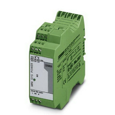 Phoenix Contact Phoenix 2866983 MINI-SYS-PS-100-240AC/24DC/1.5 Power Supply Unit; 1.5/2 Amp, 24 Volt DC Output, 1 Phase, Horizontal and NS 35 DIN Rail Mount