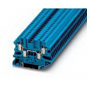 Phoenix 3044584 Feed-Thru Terminal Block; 32 Amp, 500 Volt, M3 Screw Connection, NS 35/7.5, NS 35/15 DIN Rail Mount, Polyamide, Blue