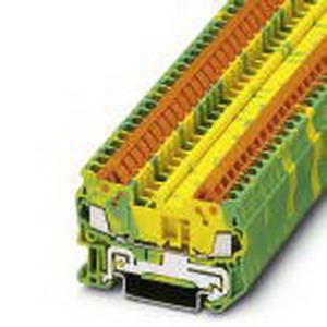 Phoenix Contact Phoenix 3205035 Ground Modular Terminal Block; Quick Connection, NS 35/7.5, NS 35/15 DIN Rail Mount, Polyamide, Green/Yellow