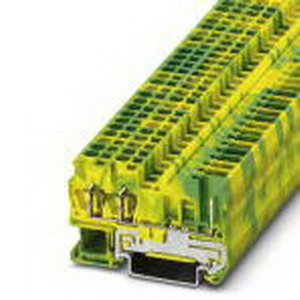 Phoenix 3042120 Ground Terminal Block; Spring-Cage/Plug-In Connection, NS 35/7.5, NS 35/15 DIN Rail Mount, Polyamide, Green/Yellow