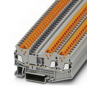 Phoenix 3205048 Feed-Thru Terminal Block; 17.5 Amp, 800 Volt, Quick Connection, NS 35/7.5 DIN Rail Mount, Polyamide, Gray