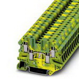Phoenix Contact Phoenix 3044597 Ground Modular Terminal Block; M3 Screw Connection, NS 35/7.5, NS 35/15 DIN Rail Mount, Polyamide, Green/Yellow