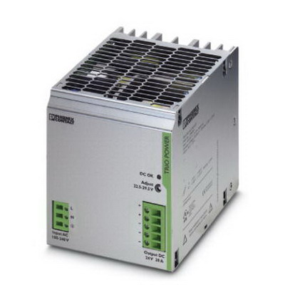 Phoenix 2866381 TRIO-PS/ 1AC/24DC/20 Power Supply Unit; 20 Amp, 24 Volt DC Output, 1 Phase, Horizontal and NS 35 DIN Rail Mount