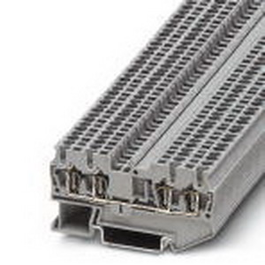 Phoenix 3031186 Feed-Thru Terminal Block; 17.5 Amp, 500 Volt, Spring-Cage Connection, NS 35/7.5, NS 35/15 DIN Rail Mount, Polyamide, Gray