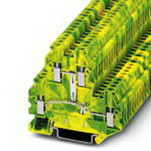 Phoenix 3044665 Protective Conductor Double-Level Terminal Block; M3 Screw Connection, NS 35/7.5, NS 35/15 DIN Rail Mount, Polyamide, Green/Yellow