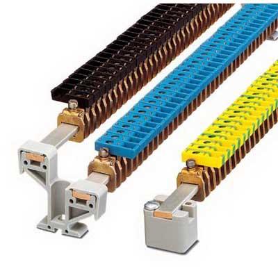 Phoenix 0421029 Connection Terminal Block; 41 Amp, 300 Volt, M4 Screw Connection, Polyamide, Green/Yellow