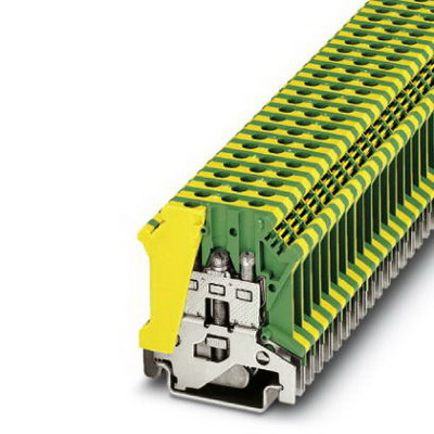 Phoenix Contact Phoenix 0441012 Ground Modular Terminal Block; M3 Screw Connection, NS 35/7.5, NS 35/15, NS 32 DIN Rail Mount, Polyamide, Green/Yellow