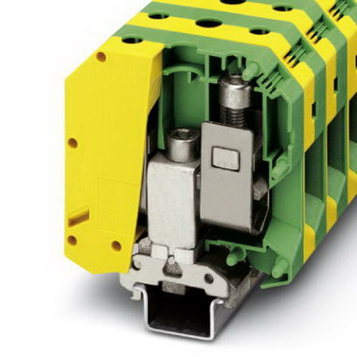 Phoenix 0441041 Ground Modular Terminal Block; 232 Amp, M8 Screw Connection, NS 35/7.5, NS 35/15, NS 32 DIN Rail Mount, Polyamide, Green/Yellow