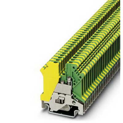 Phoenix Contact Phoenix 0441083 Ground Modular Terminal Block; M3 Screw Connection, NS 35/7.5, NS 35/15, NS 32 DIN Rail Mount, Polyamide, Green/Yellow