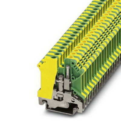 Phoenix Contact Phoenix 0441504 Ground Modular Terminal Block; M3 Screw Connection, 2 Position,NS 35/7.5, NS 35/15, NS 32 DIN Rail Mount, Polyamide, Green/Yellow