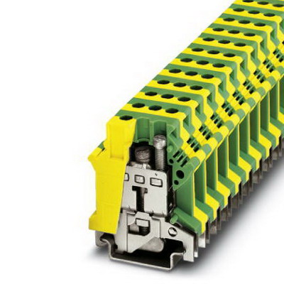 Phoenix Contact Phoenix 0443023 RFC 470S PN 3TX Ground Modular Terminal Block; 76 Amp, M4 Screw Connection, NS 35/7.5, NS 35/15, NS 32 DIN Rail Mount, Polyamide, Green/Yellow