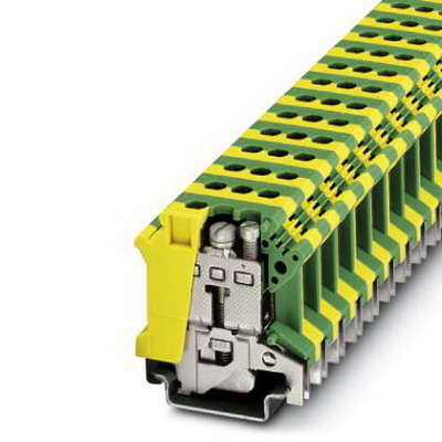 Phoenix 0443052 Ground Modular Terminal Block; 76 Amp, M4 Screw Connection, 1 Position,NS 35/7.5, NS 35/15, NS 32 DIN Rail Mount, Polyamide, Green/Yellow