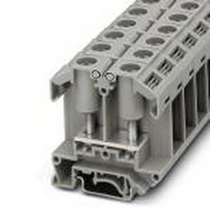 Phoenix 0790491 Feed-Thru Terminal Block; 101 Amp, 800 Volt, M6 Bolt Connection, Polyamide, Gray