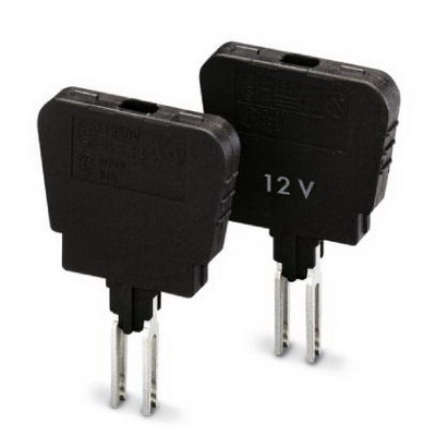 Phoenix 0921037 Fuse Plug; 24 Volt, 6.3 Amp, Block Mount, 33.1 mm Length x 6.1 mm Width x 26.5 mm Height, Polyamide 6.6, Black
