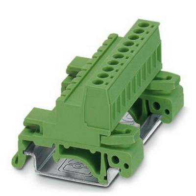 Phoenix Contact Phoenix 1765768 UMSTBHK 2.5/10-G Base Strip/Header; 4 Kilo-Volt (Surge), 320 Volt (Rated III/2), 12 Amp, Green, DIN Rail