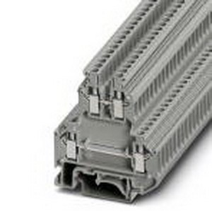 Phoenix 2770011 Double-Level Terminal Block; 24 Amp, 500 Volt, M3 Screw Connection, NS 35/7.5, NS 35/15, NS 32 DIN Rail Mount, Polyamide, Gray