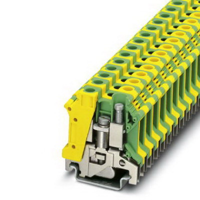 Phoenix Contact Phoenix 3003923 Ground Modular Terminal Block; 57 Amp, M4 Screw Connection, NS 35/7.5, NS 35/15, NS 32 DIN Rail Mount, Polyamide, Green/Yellow