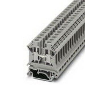 Phoenix 3004524 Feed-Thru Terminal Block; 41 Amp, 800 Volt, M4 Screw Connection, NS 35/7.5, NS 35/15, NS 32 DIN Rail Mount, Polyamide, Gray