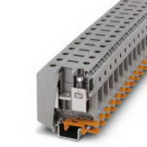 Phoenix 3009118 High-Current Terminal Block; 150 Amp, 1000 Volt, M6 Screw Connection, NS 35/15, NS 32 DIN Rail Mount, Polyamide, Gray