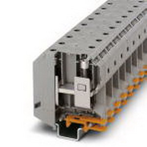 Phoenix 3010013 High-Current Terminal Block; 232 Amp, 1000 Volt, M8 Screw Connection, NS 35/15, NS 32 DIN Rail Mount, Polyamide, Gray