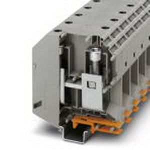 Phoenix 3010110 High-Current Terminal Block; 309 Amp, 1000 Volt, M10 Screw Connection, NS 35/15, NS 32 DIN Rail Mount, Polyamide, Gray