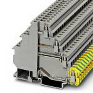 Phoenix 3011038 Feed-Thru Multi-Level Terminal Block; 24 Amp, 400 Volt, M3 Screw Connection, NS 35/7.5, NS 35/15 DIN Rail Mount, Polyamide, Gray