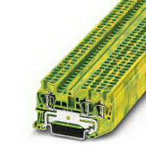Phoenix 3031267 Ground Terminal Block; Spring-Cage Connection, NS 35/7.5, NS 35/15 DIN Rail Mount, Polyamide, Green/Yellow