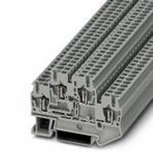 Phoenix 3031270 Double-Level Spring-Cage Terminal Block; 22 Amp, 500 Volt, Spring-Cage Connection, NS 35/7.5, NS 35/15 DIN Rail Mount, Polyamide, Gray