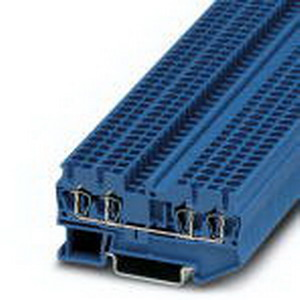 Phoenix 3031319 Feed-Thru Terminal Block; 24 Amp, 800 Volt, Spring-Cage Connection, NS 35/7.5, NS 35/15 DIN Rail Mount, Polyamide, Blue