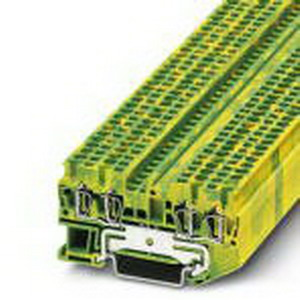Phoenix Contact Phoenix 3031322 Ground Terminal Block; Spring-Cage Connection, NS 35/7.5, NS 35/15 DIN Rail Mount, Polyamide, Green/Yellow