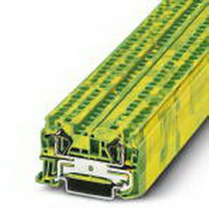 Phoenix Contact Phoenix 3031380 Ground Terminal Block; Spring-Cage Connection, NS 35/7.5, NS 35/15 DIN Rail Mount, Polyamide, Green/Yellow