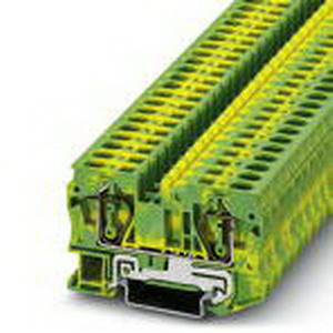 Phoenix Contact Phoenix 3031500 Ground Terminal Block; Spring-Cage Connection, NS 35/7.5, NS 35/15 DIN Rail Mount, Polyamide, Green/Yellow