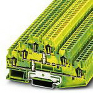 Phoenix 3036071 PLC-OSC- 24DC/TTL Ground Terminal Block; Spring-Cage Connection, NS 35/7.5, NS 35/15 DIN Rail Mount, Polyamide, Green/Yellow